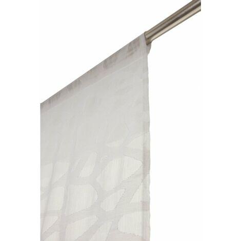 vitrage 60 x 240 cm a passe tringle brode style scandinave motif contemporain blanc blanc blanc