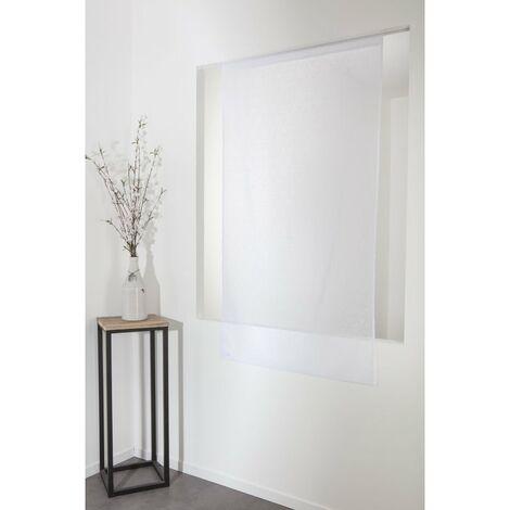 voilage 65 x 160 cm a passe tringle ajoure motif geometrique lasercut blanc blanc blanc