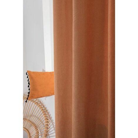 rideau 140 x 280 cm a oeillets grande hauteur mat couleur rouille orange orange