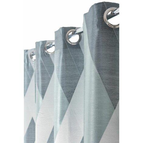 rideau 140 x 240 cm a oeillets formes gzeomzetriques bleu nordique bleu bleu