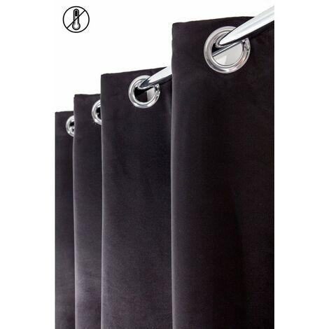 rideau occultant 140 x 240 cm a oeillets thermique stop froid uni noir noir noir