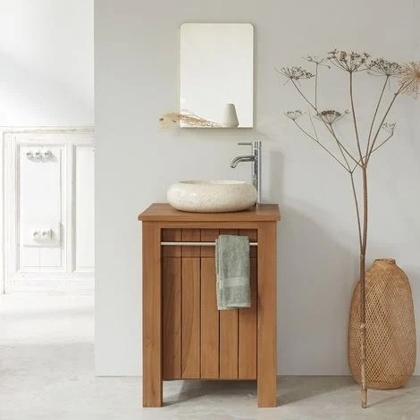 meuble de salle de bain en bois de teck 60 cm naturel