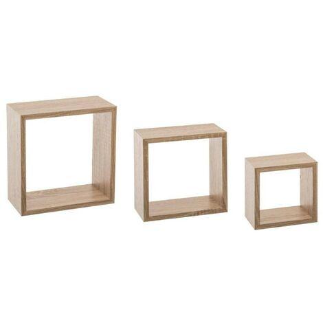 kit de 3 etageres murales cube chene naturel marron