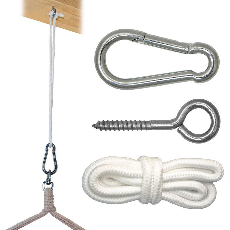 kit de fixation pour fauteuil suspendu kit pour accrocher chaise hamac balancelle a pendre metal robuste incl corde mousqueton vis a anneau