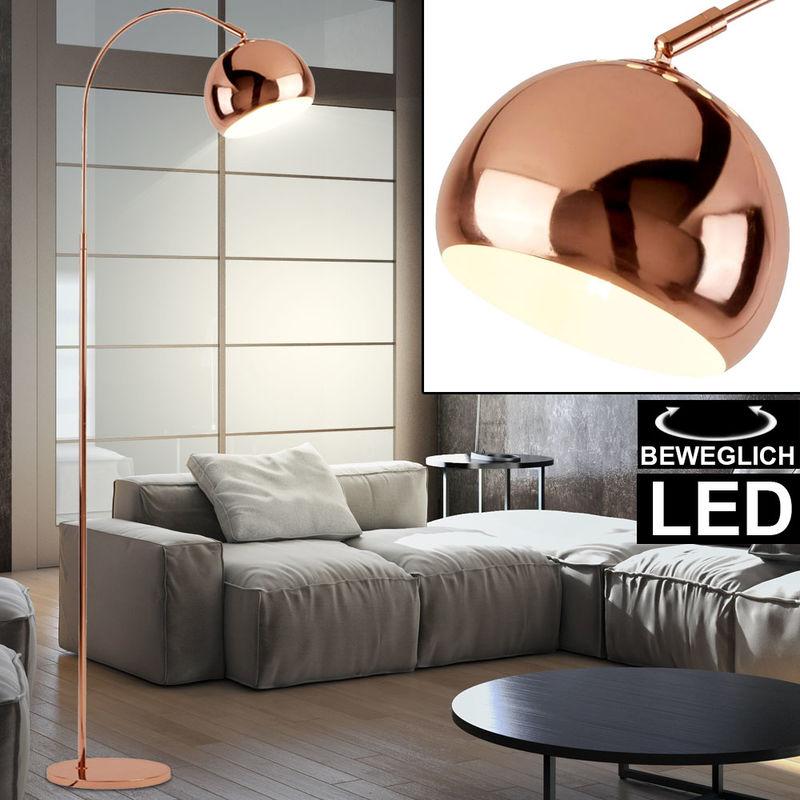 lampe a arc led cuivre abat jour ajustable h 140 cm