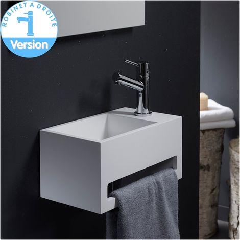 lave mains gain de place en solid surface prato 33x18 cm avec porte serviettes