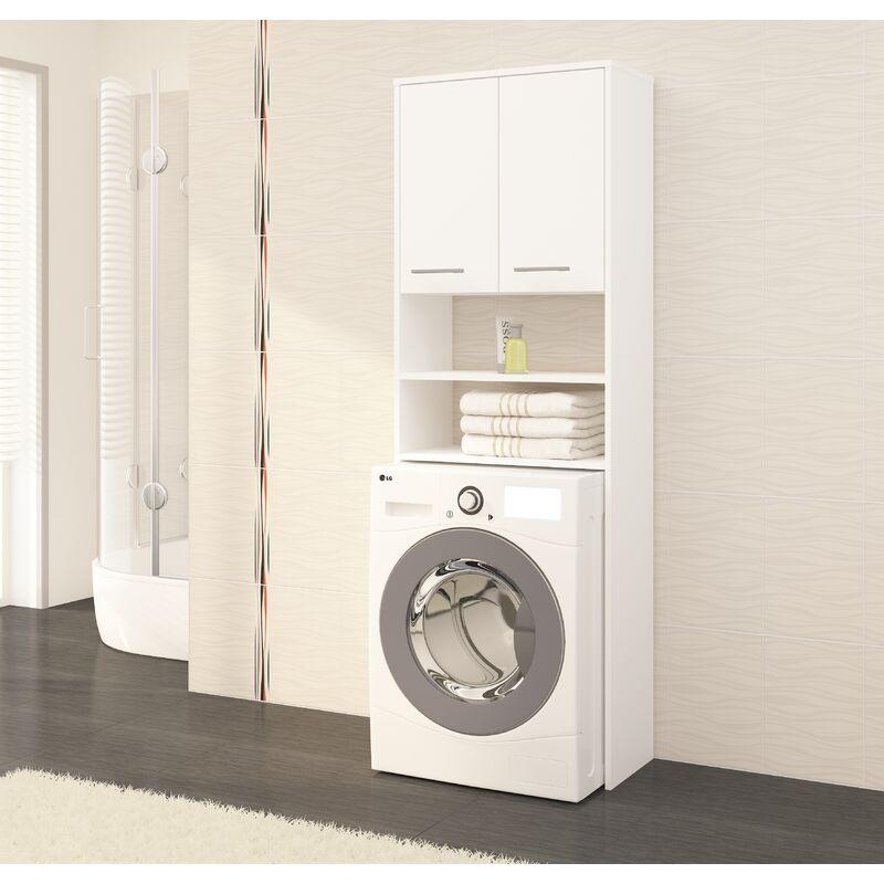 lena meuble pour machine a laver 180x64x30 cm rangement buanderie lave linge salle de bain blanc blanc