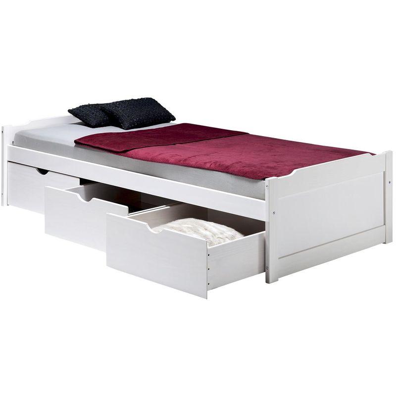 lit fonctionnel avec rangements mia 3 tiroirs 90 x 200 cm pin massif lasure blanc