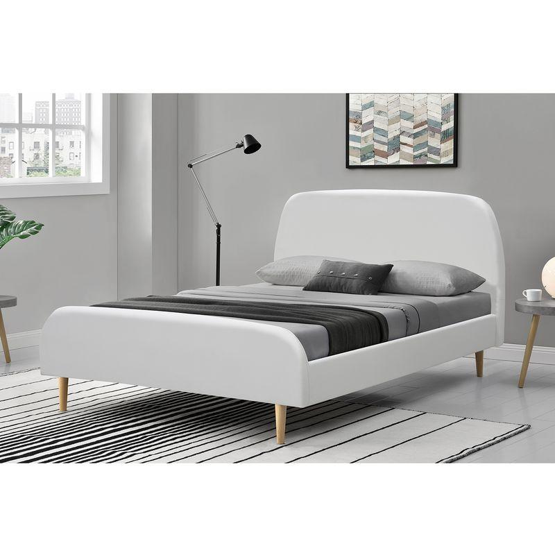 lit sandvik cadre de lit scandinave blanc avec pieds en bois 160x200cm