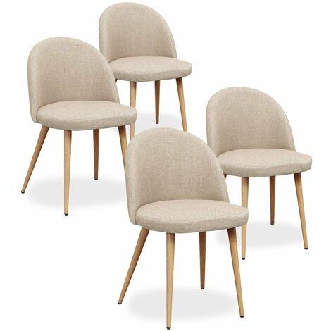 lot de 4 chaises scandinaves cecilia tissu beige
