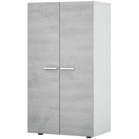 meuble a chaussures 2 portes coloris blanc ciment en melamine dim 103 x 55 x 36 cm pegane