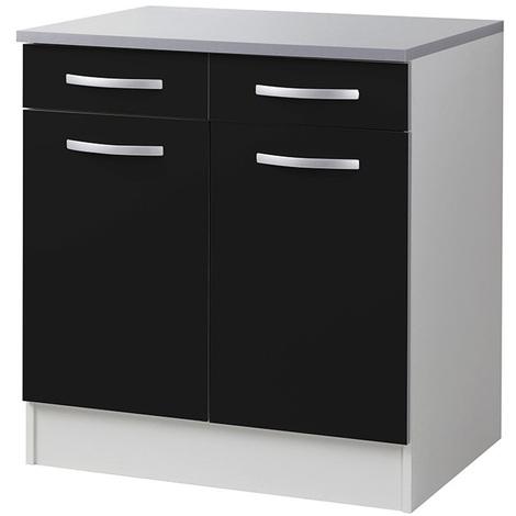 meuble bas de cuisine 2 portes 2 tiroirs noir dim l 80 x p 60 x h 86 cm