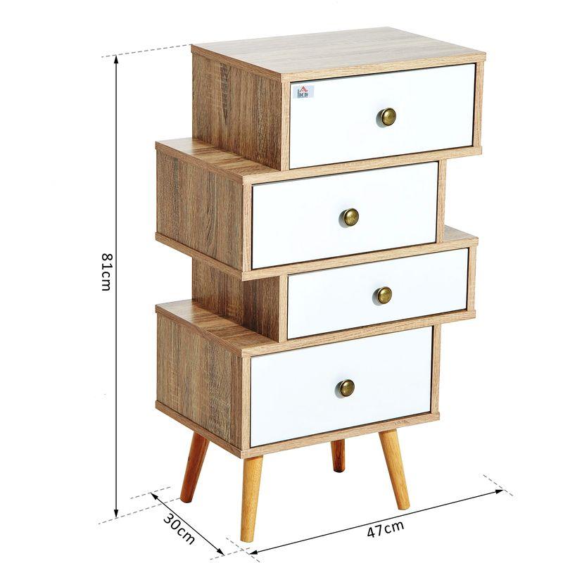 meuble commode chiffonnier style scandinave 4 tiroirs coulissants 47 x 30 x 81 cm coloris blanc bois de chene