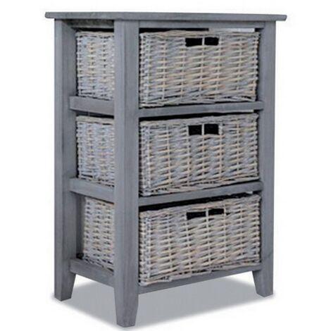meuble de rangement colonne en bois gris avec 3 paniers en osier bekka
