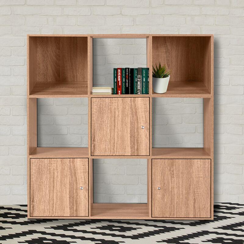 meuble de rangement cube 9 cases bois facon hetre avec 3 portes