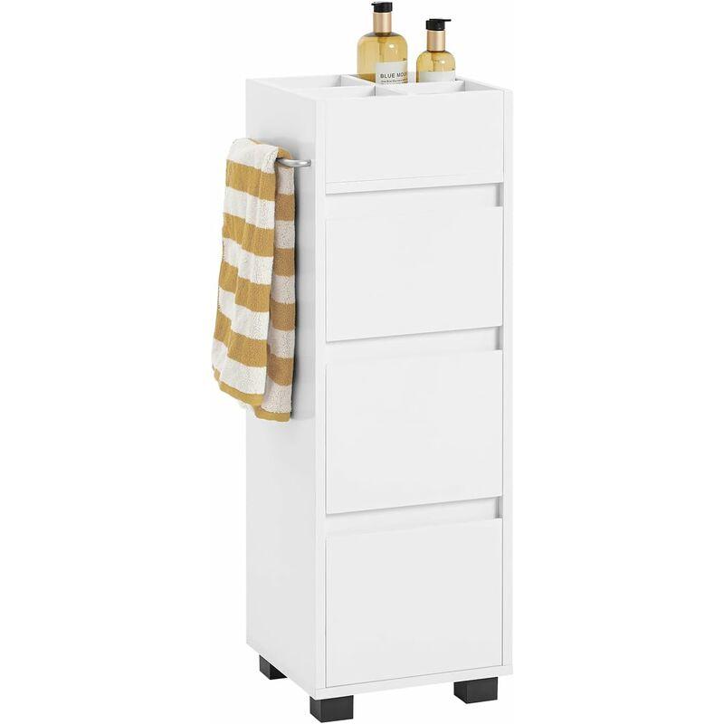 meuble demi colonne meuble bas de salle de bain avec 3 tiroirs 4 compartiments et porte serviette blanc sobuy bzr29 w