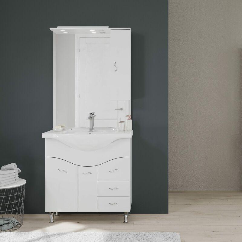 Meuble Lavabo Salle De Bains 86 Cm Miroir Armoire Couleur Blanc 02010043000016