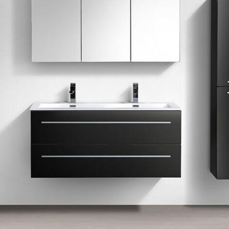 meuble salle de bain design double vasque siena largeur 120 cm noir laque