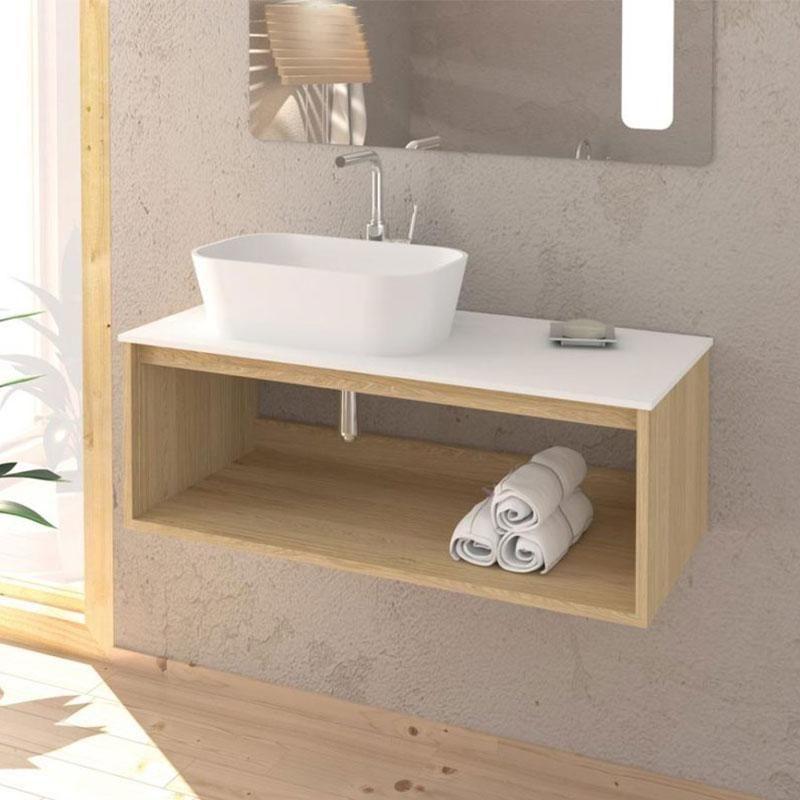 Meuble Salle De Bain Design Suspendu Uno Wood Pour Vasque A Poser 80 Cm Ms080mr Enc03080ss Encmec