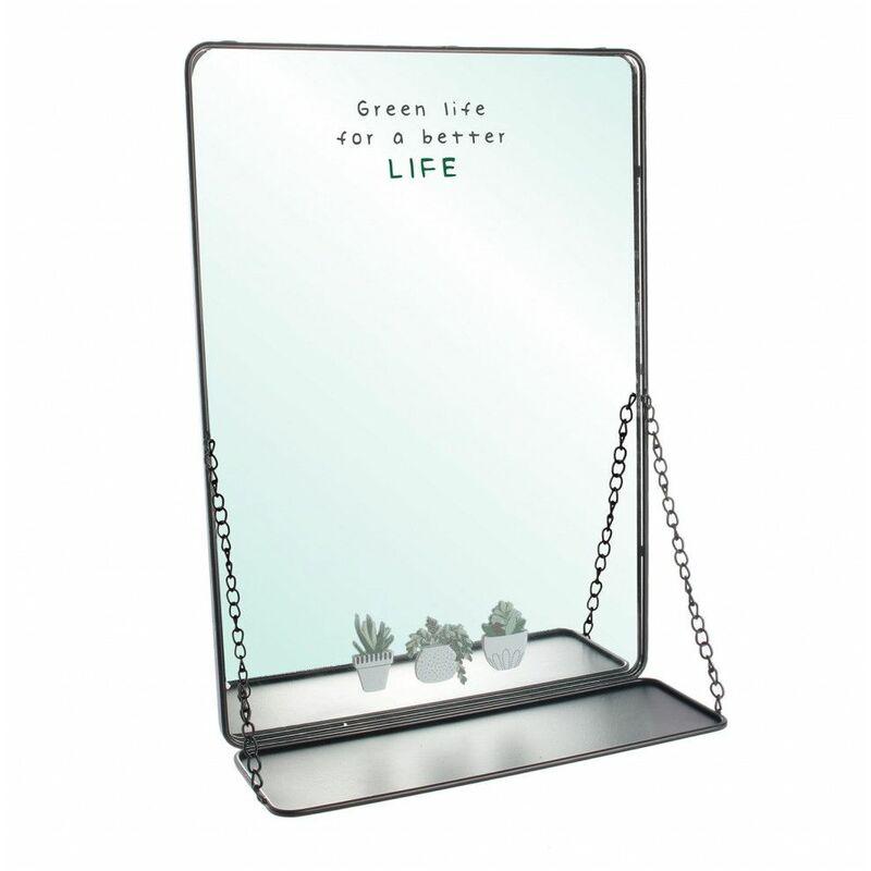 miroir 35 x h 50 cm avec tablette suspendue chainettes noir