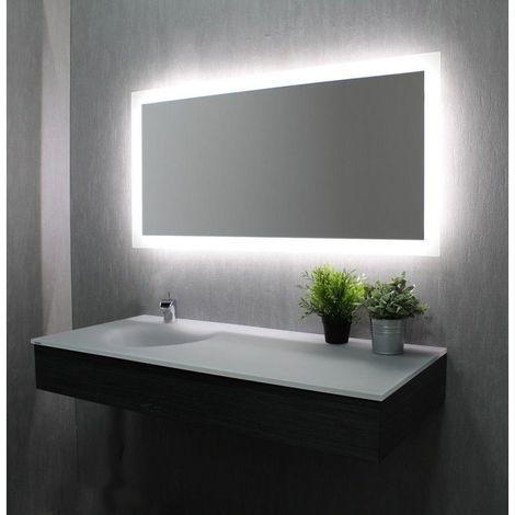 Miroir De Salle De Bains Avec Eclairage Led Modele Led 120 60 Cm X 120 Cm Hxl 3283425572544