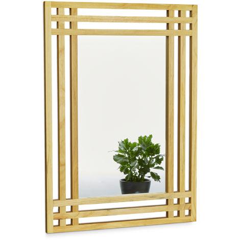 Miroir En Bois De Pin Fixation Murale Salle De Bain Couloir Salon A Suspendre Avec Cadre En Bois H X L X P 70 X 50 X 2 Cm Decoration Interieure Entree Chambre Nature 2100204832247
