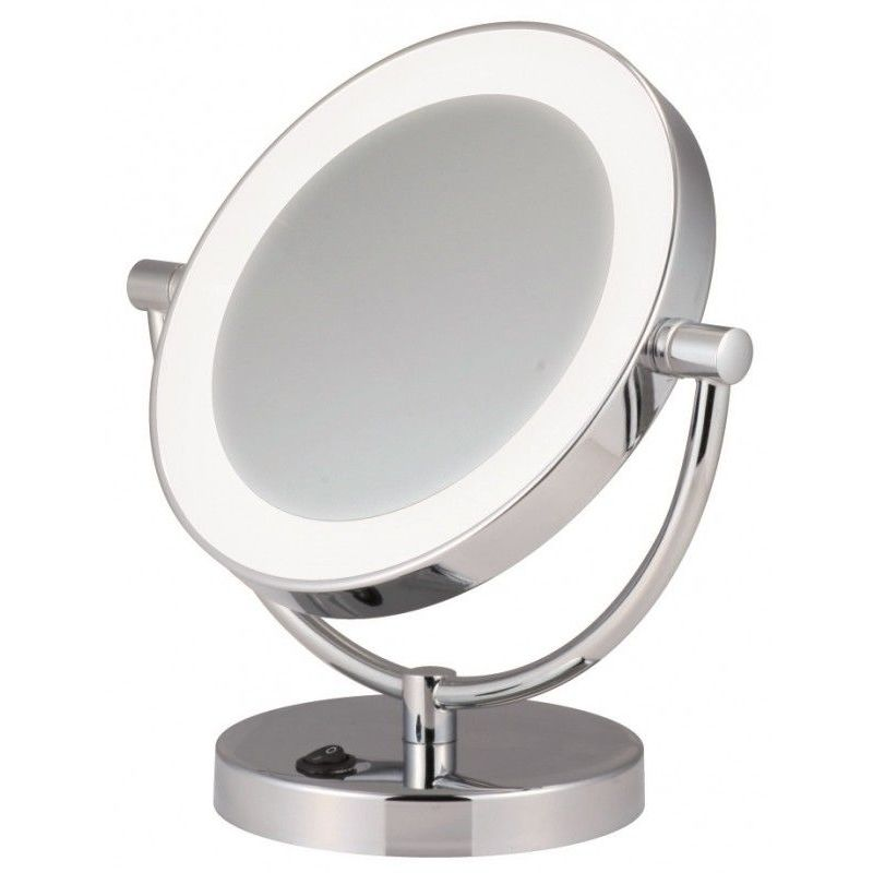 Miroir Grossissant Eclairant A Poser X5 Finition Chic Chromee Diametre 17 5 Cm Chrome 3283420557126