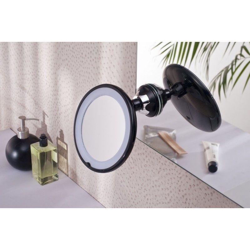 Miroir Grossissant Lumineux A Ventouse X3 Noir Diametre 17 5 Cm Blanc 3283420560256