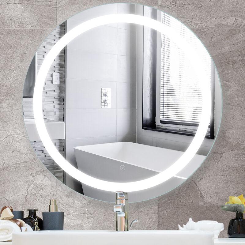 Miroir Mural Beau Miroir Salle De Bain Lumineux Led 70 70cm Hd Tactile Anti Buee Fonction En Mercure Sans Cuivre Ys174115 02