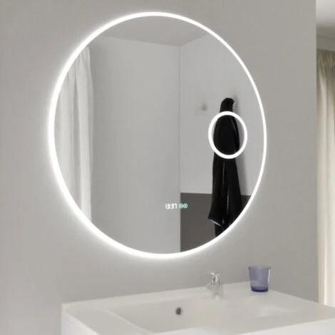 Miroir Rondinara O 80cm Eclairage Led Systeme Anti Buee Horloge Et Loupe S02rondi80l