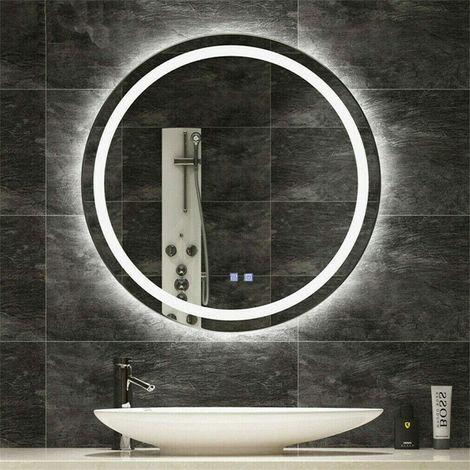 Miroir Salle De Bain Rond 60cm Miroir Mural Avec Eclairage Integre Anti Buee Avec Interrupteur Tactile Lumiere Blanc Chaud Kc Jj1809