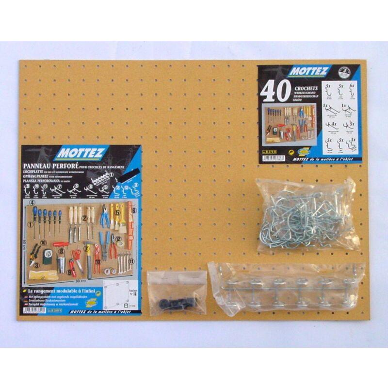 mottez kit panneau perfore isorel compose d un panneau isorel 1 lot de 40 crochets universels 1 sachet de distanceurs 1 barrette porte outils