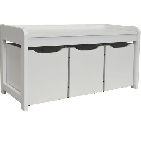 Newton Hallway Shoe Toy Bedroom Storage Bench With 3 Drawers White Oc9463