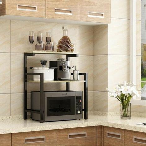 organisateur de cuisine a 2 niveaux support de four a micro ondes etagere de rangement support de meuble cadre noir grain de bois profond noir bois