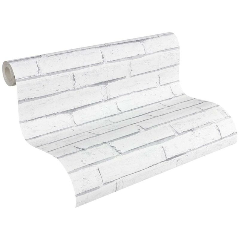 papier peint brique imitation gris blanc pour la cuisine chambre salon 301692 lutece authentic walls