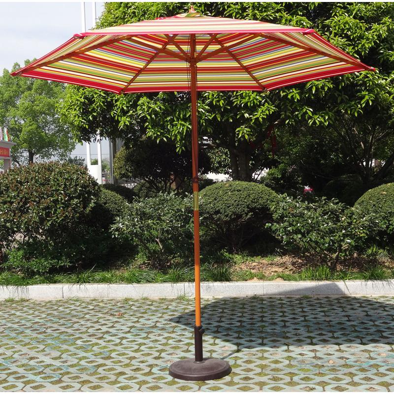 parasol centre rond o 2 70m structure en bois teck et toile en polyester multicolore hauteur max 2 47m