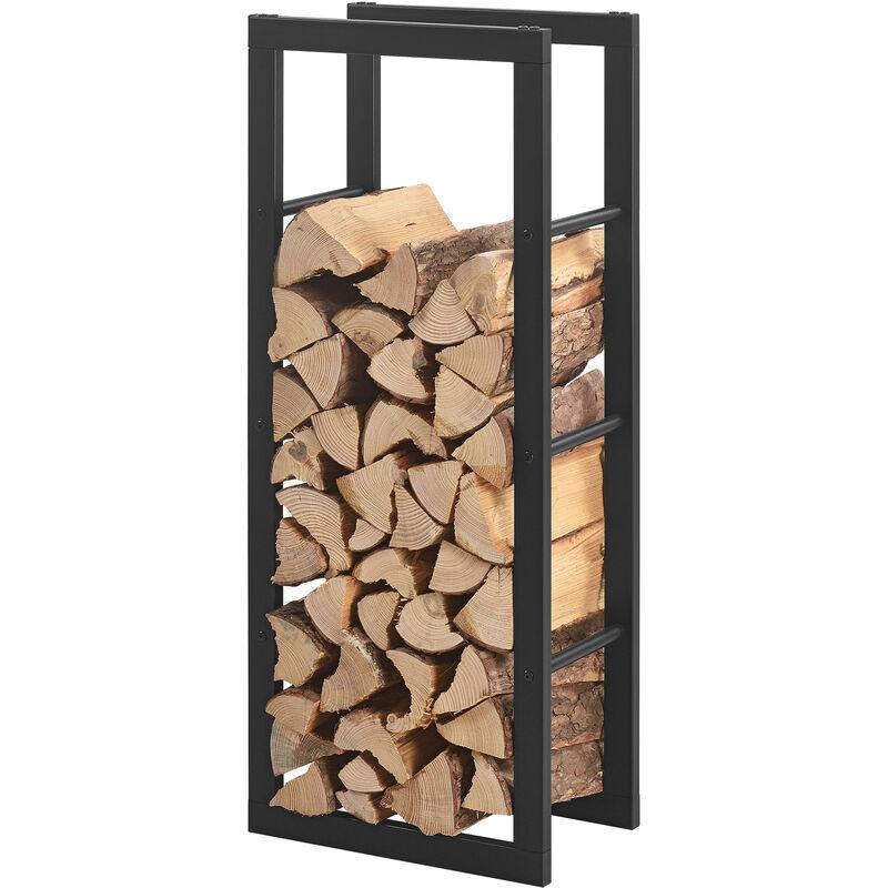 porte buches robuste range buches solide support pour bois de chauffage rangement efficace pour interieur exterieur acier laque 40 x 100 x 25 cm noir