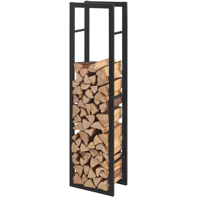 porte buches robuste range buches solide support pour bois de chauffage rangement efficace pour interieur exterieur acier laque 40 x 150 x 25 cm noir