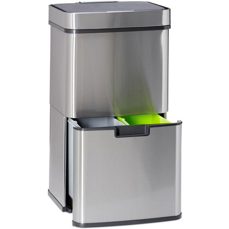poubelle de tri selectif 3 compartiments inox 60 litres ouverture sensitive hxlxp 74 5 x 42 x 31 5cm argente