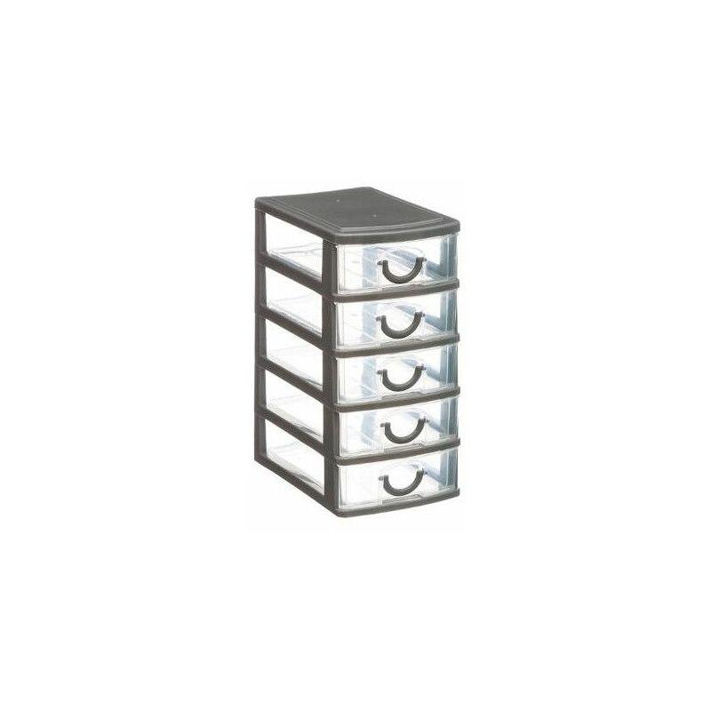 rangement 5 tiroirs 9 x 13 x 19 cm plastique gris