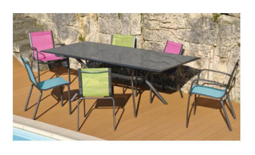 salon de jardin malaga 6 places en aluminium et textilene couleur fuschia proloisirs