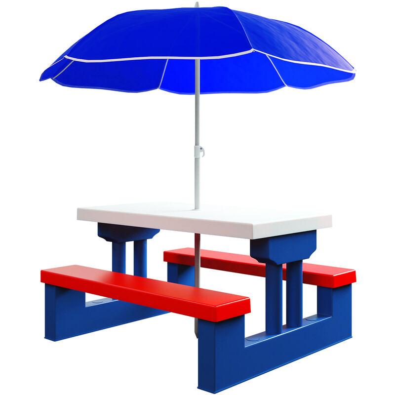 salon de jardin pour enfants table et bancs ensemble de jardin bords arrondis avec parasol jeux enfants interieur exterieur transportable