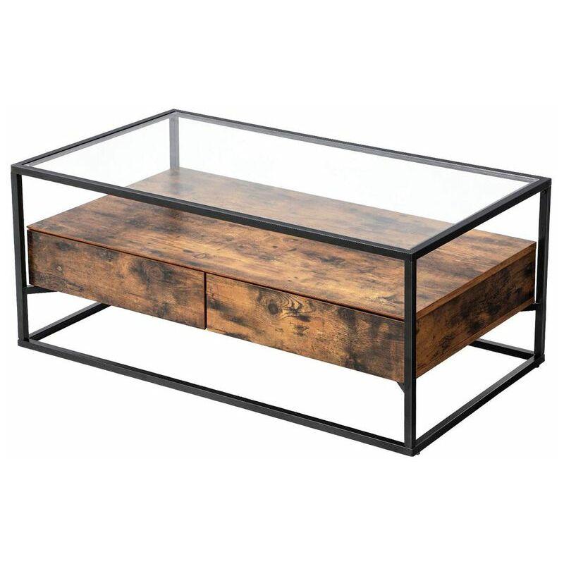 selsey ramizu table basse table de cafa c 106 cm 2 tiroirs plateau en verre style industriel