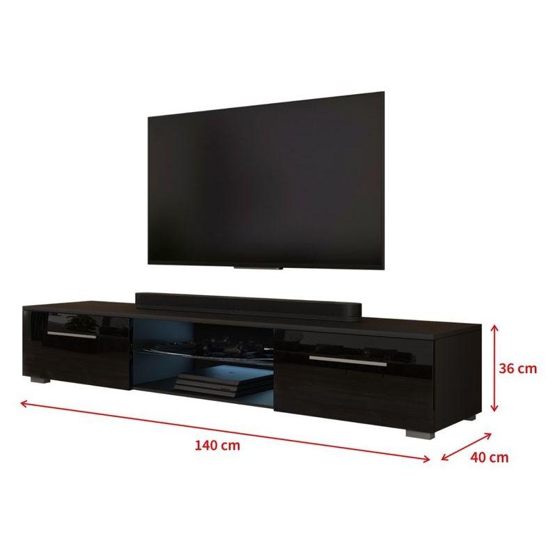 selsey syvis meuble tv banc tv noir mat noir brillant 140 cm a c clairage led