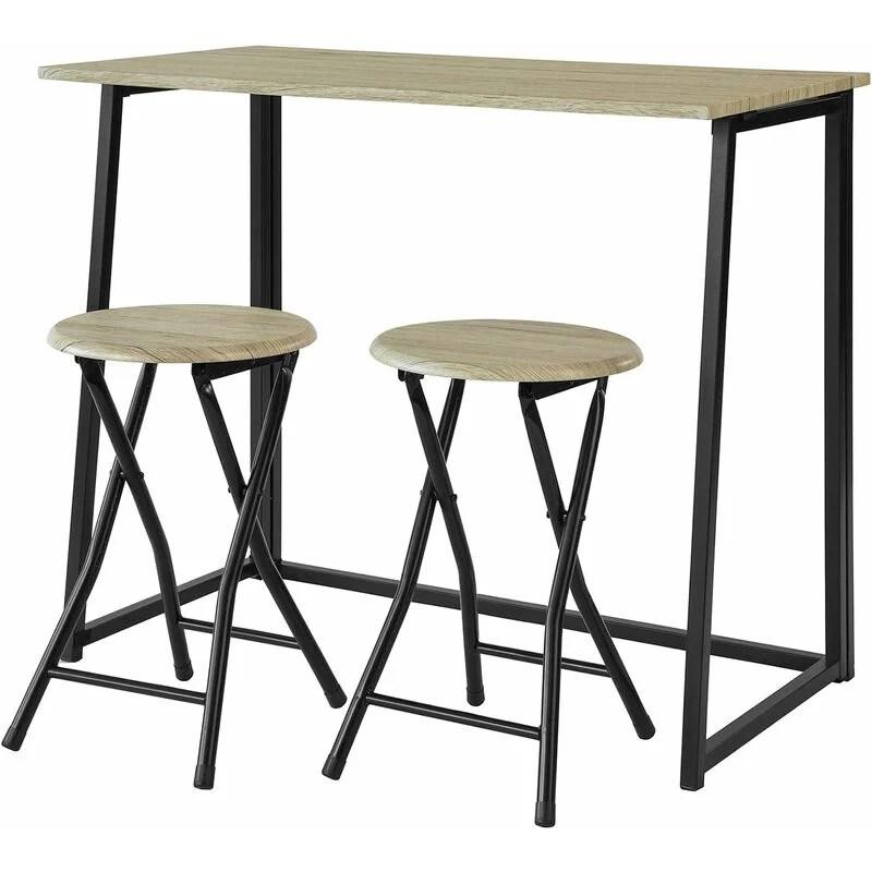 set de 1 table 2 chaises table a manger table de cuisine ensemble table de balcon 2 tabourets avec repose pieds table ogt18 n sobuy