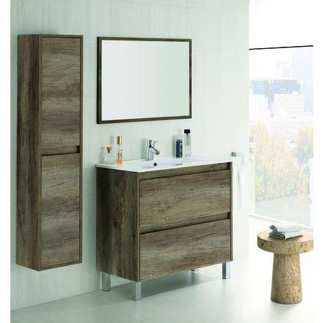 set de meuble sous lavabo avec 2 tiroirs colonne suspendue 2 portes nordik