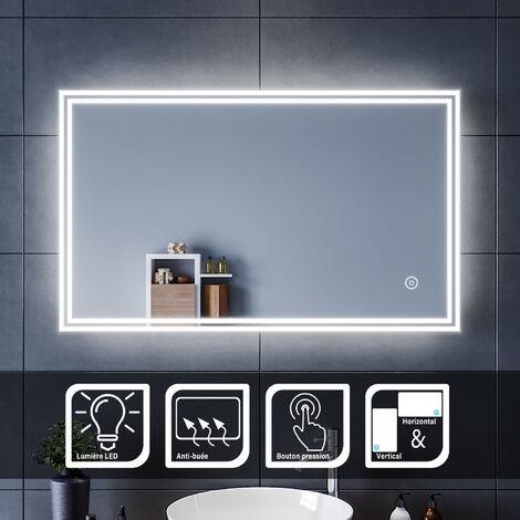 Sirhona Miroir Led 100x60 Cm Miroir De Salle De Bains Avec Eclairage Led Miroir Cosmetiques Mural Lumiere Illumination Avec Commande Par Effleurement Et Demister Ftbm1316