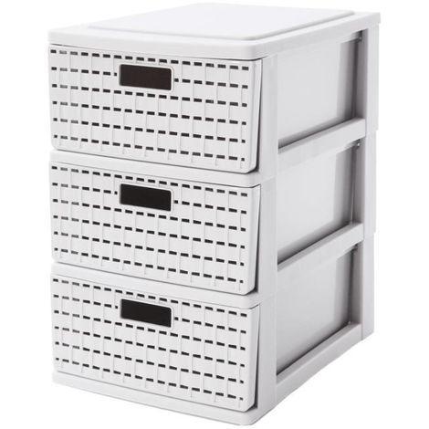 sundis tour de rangement country a5 3 tiroirs 25 5x18x28 5 cm blanc