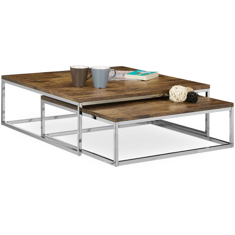 table basse avec plateau en bois flat lot de 2 nature hxlxp 27 x 80 x 80 cm table gigogne carre gain de place lot de 2 salon canape table d appoint