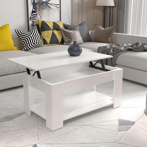 table basse avec plateau relevable et petite etagere 50 x 100 x 42 blanc